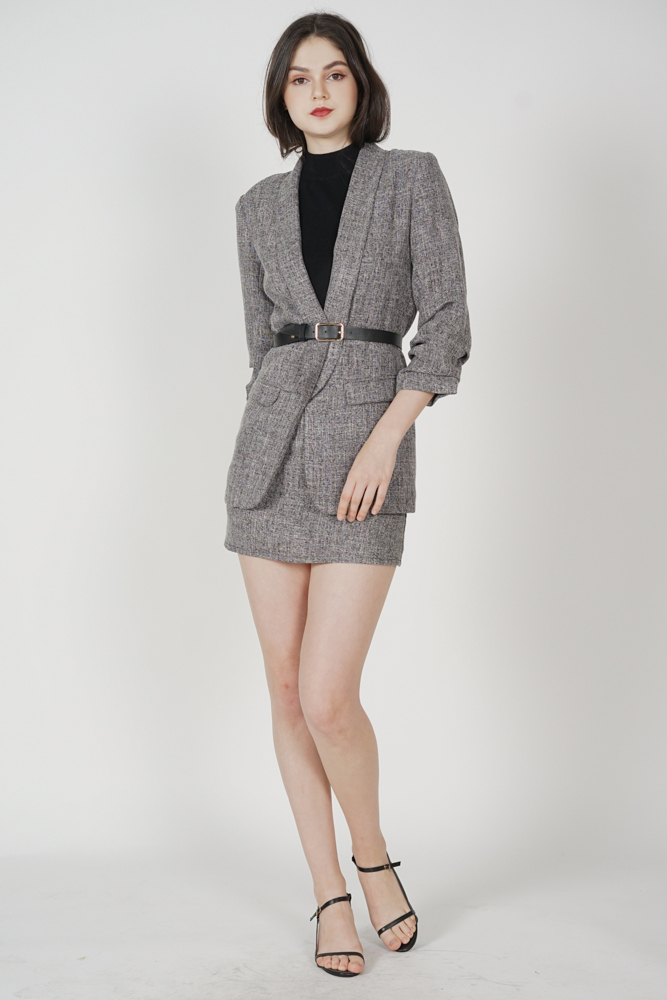 Frankie Gathered Sleeve Blazer in Dark Grey