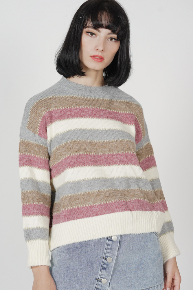Elsey Striped Sweater in Peach - Arriving Soon