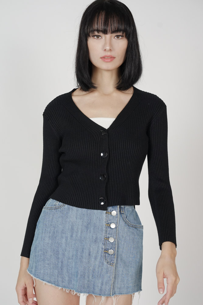 Olbie Buttoned Cardigan in Black - Arriving Soon