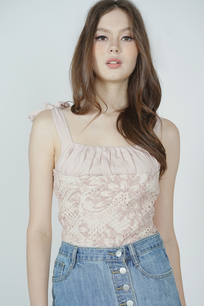 Merka Gathered Crochet Top in Blush - Arriving Soon