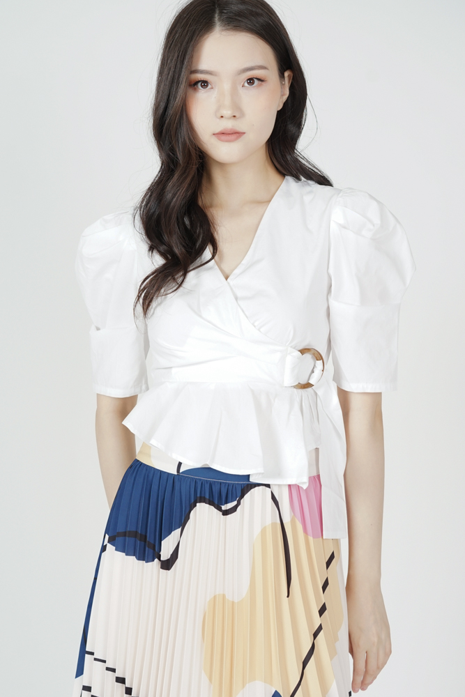 Jeremia Gathered Top in White - Arriving Soon