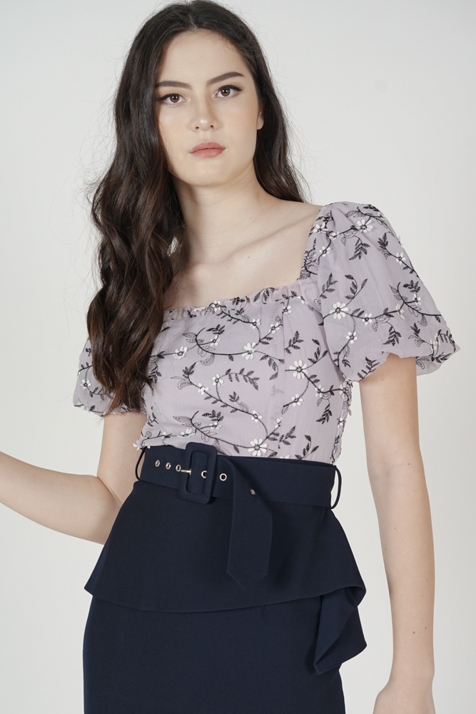 Valdis Gathered Puffy Top in Lilac Floral