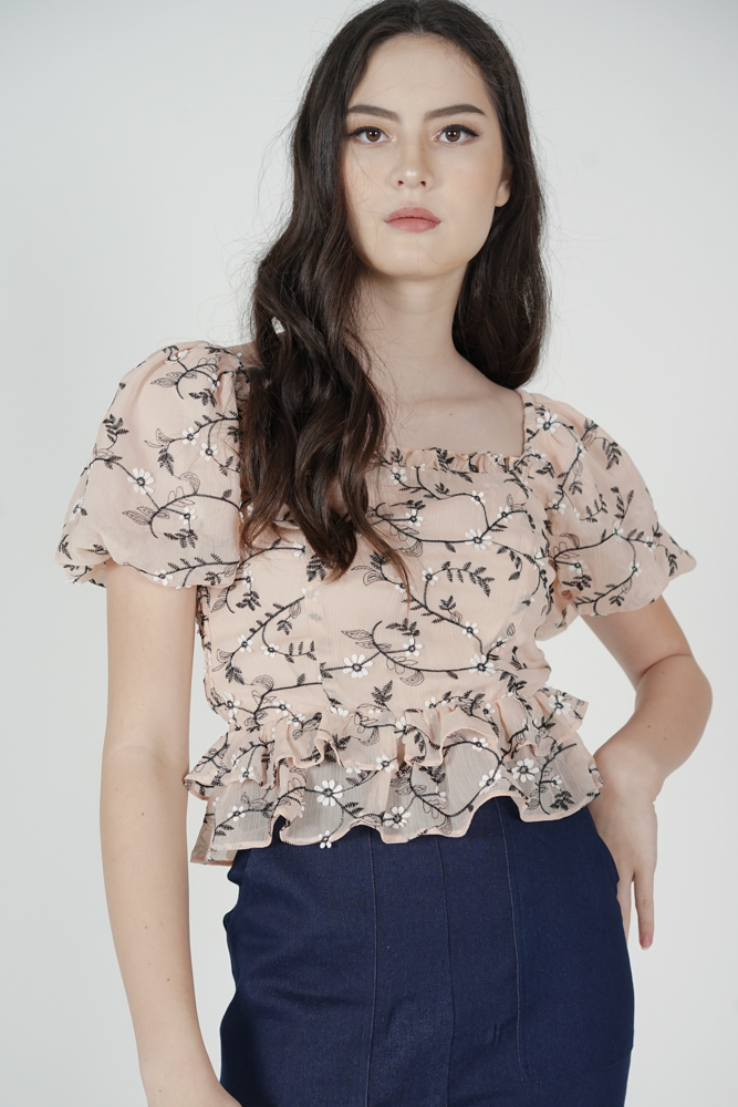 Valdis Puffy Top in Nude Floral