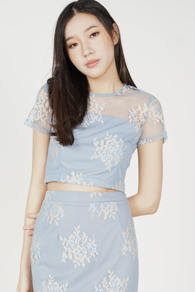 Britney Lace Top in Ash Blue - Arriving Soon