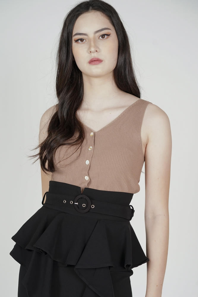 Halfrid Buttoned Top in Nude - Online Exclusive