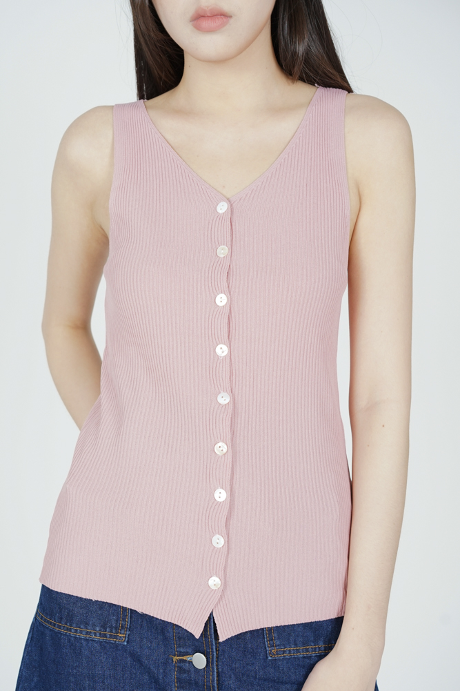 Halfrid Buttoned Top in Peach - Online Exclusive
