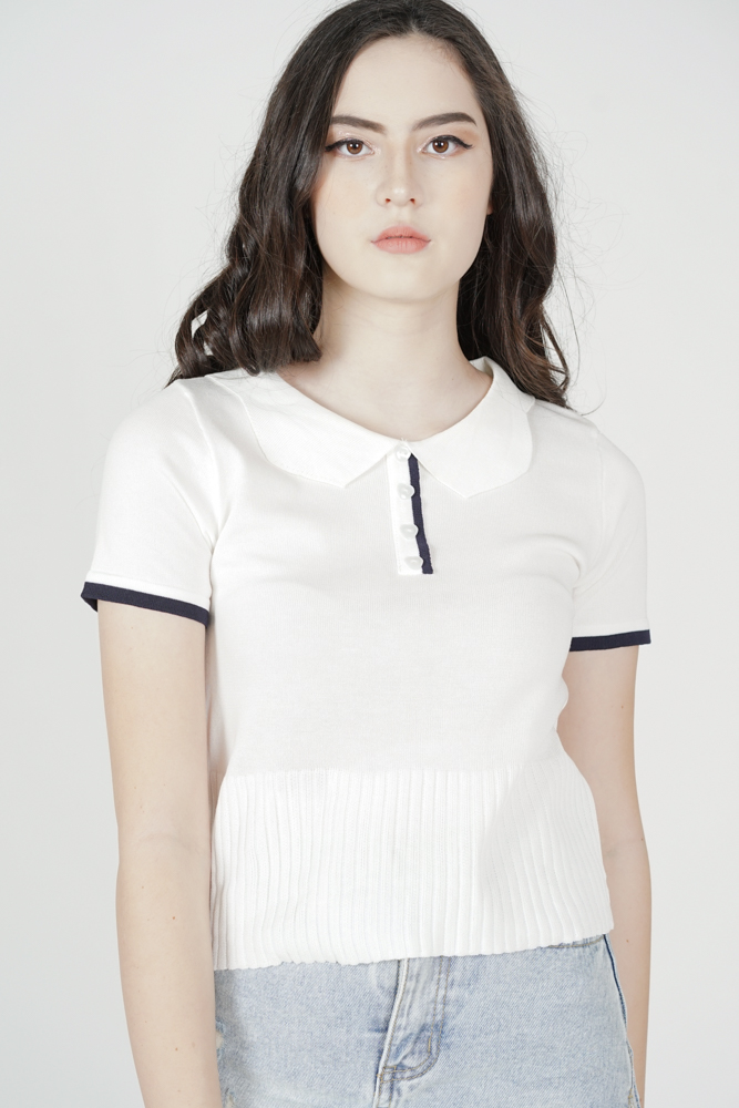 Fenni Collared Top in White - Online Exclusive