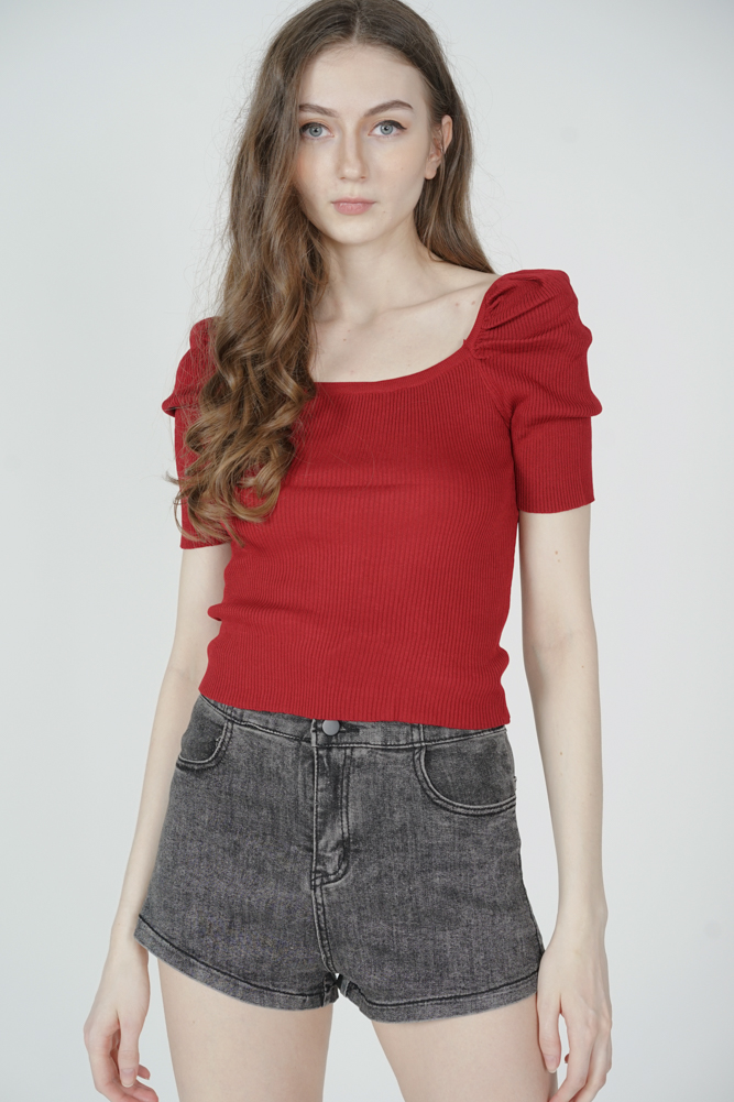 Nairna Sleeved Top in Red - Online Exclusive
