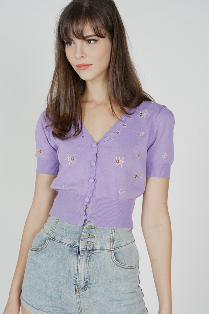 Vickie Buttoned Top in Purple - Online Exclusive