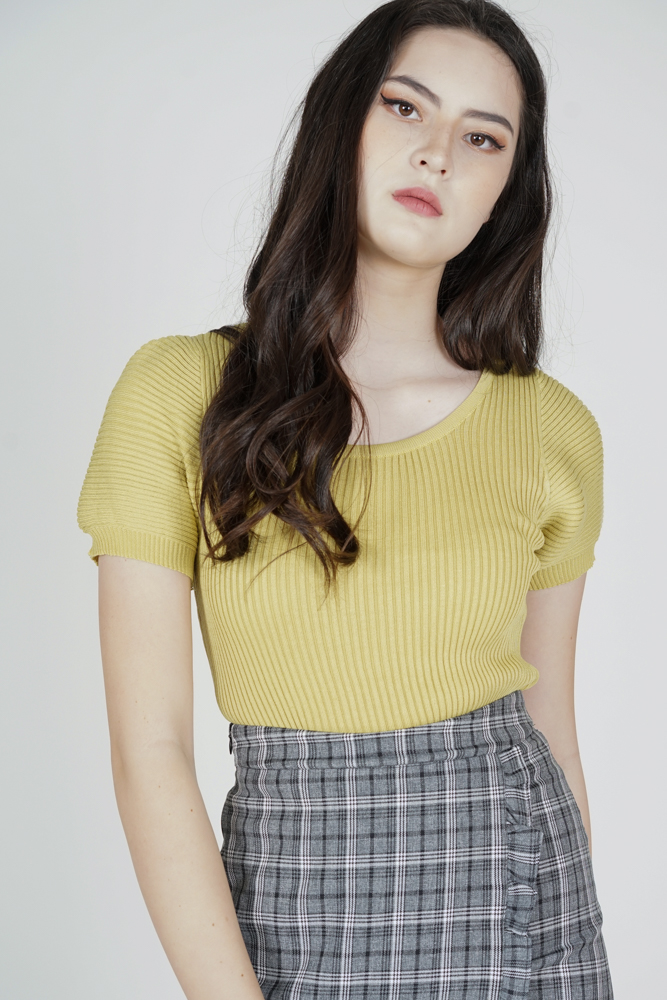 Onah Puffy Top in Green Yellow - Online Exclusive