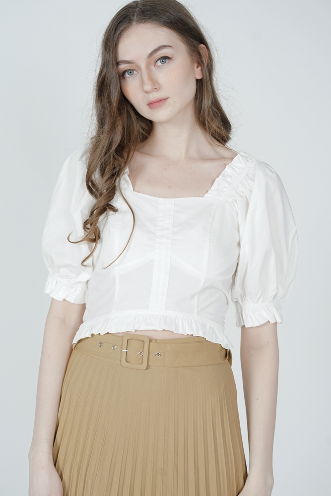 Hara Puffy Top in White - Online Exclusive