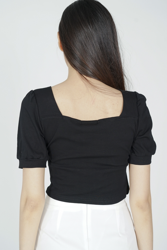 Mekka Gathered Top in Black - Online Exclusive