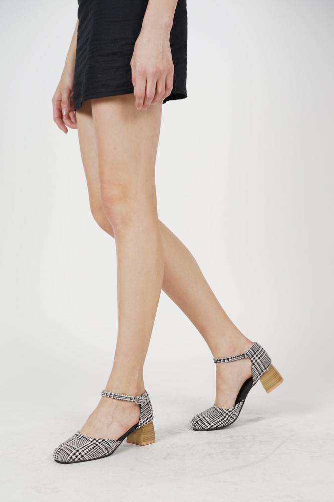 Ankle Strap Pumps in Black Checks - Arriving Soon
