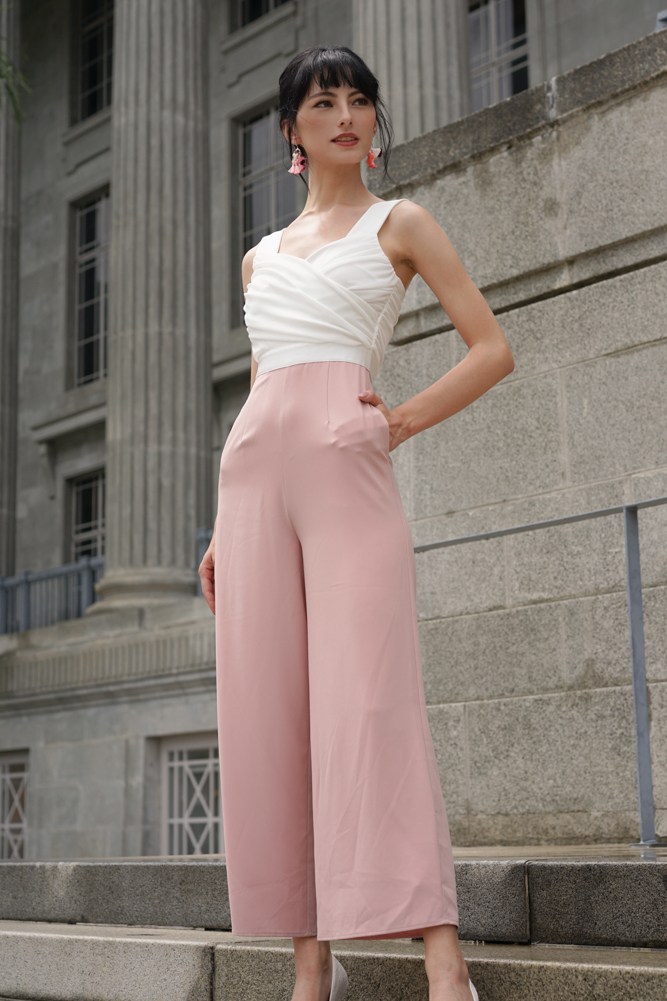 Teagan Ruched Jumpsuit in White Pink