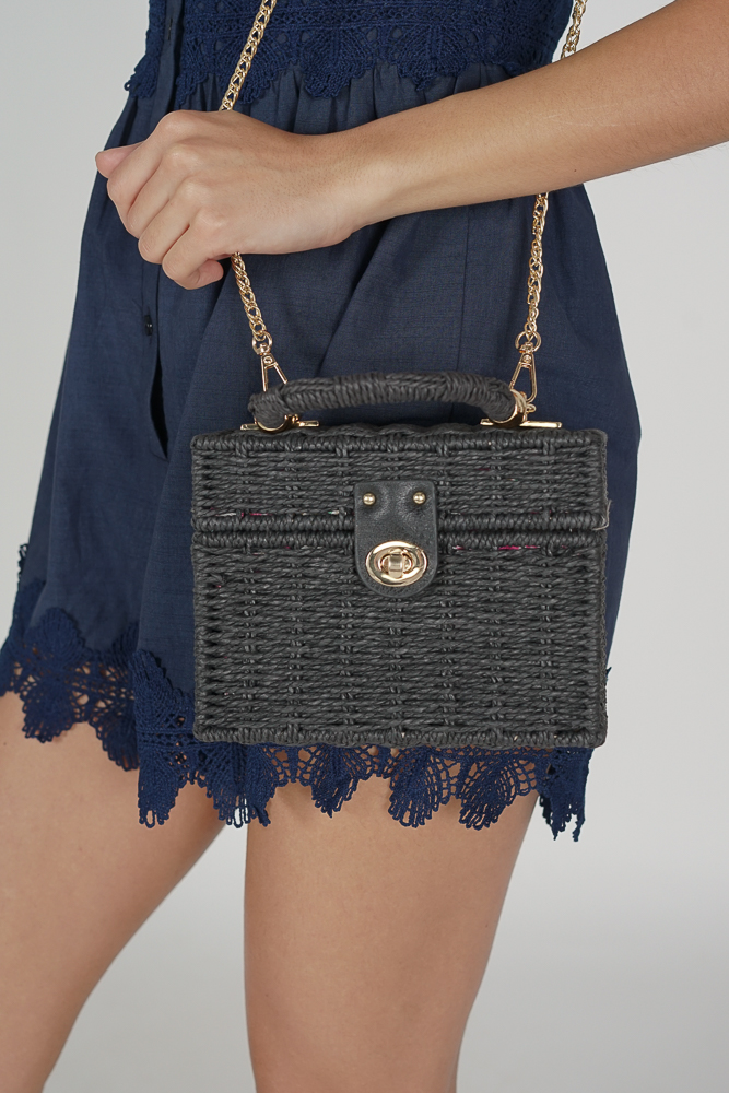 Xavia Straw Bag in Black - Arriving Soon