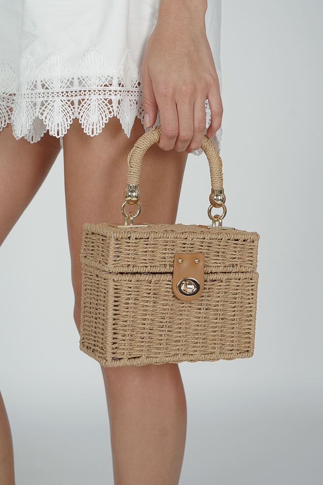 Xavia Straw Bag in Khaki - Arriving Soon