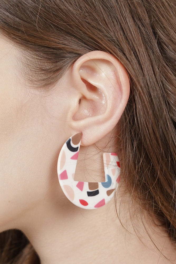 Milly Earrings in Pink Abstract -  Arriving Soon