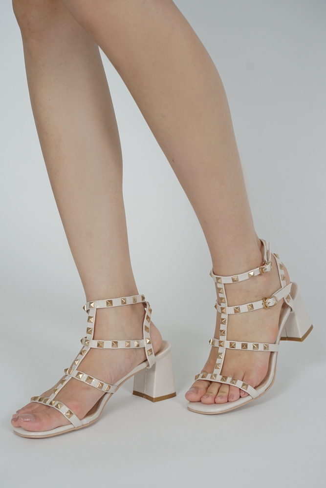 Tanya Studded Heels in White - Arriving Soon