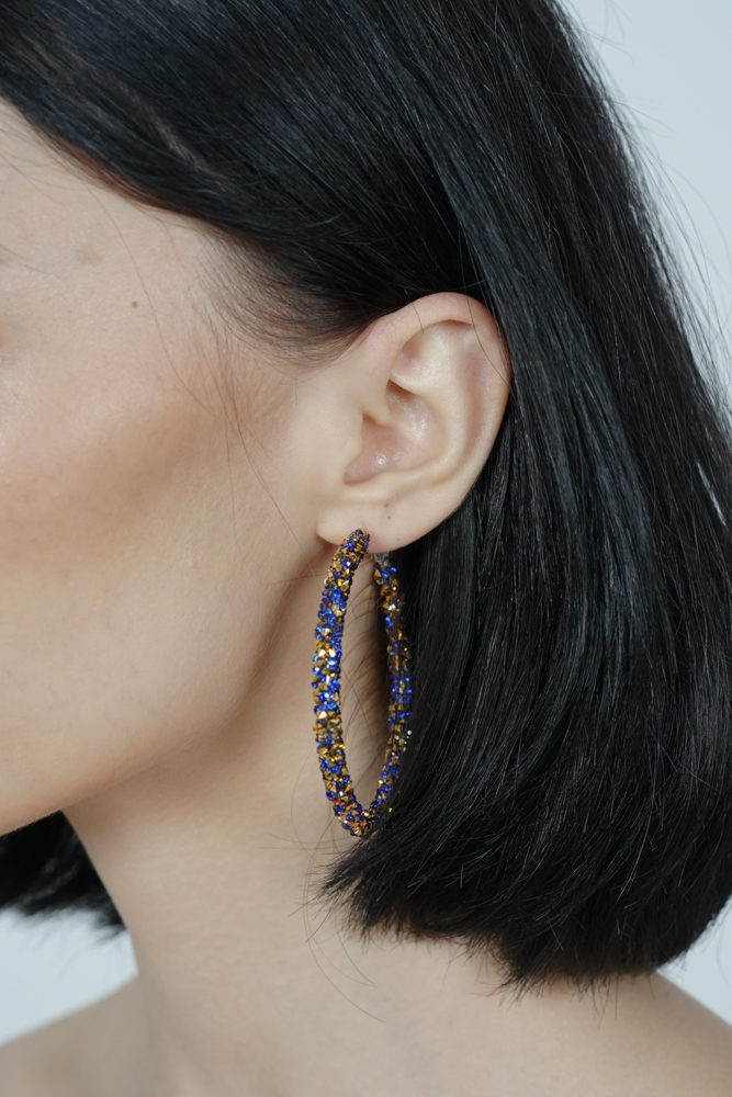 Lucia Hoop Earrings in Blue -  Arriving Soon
