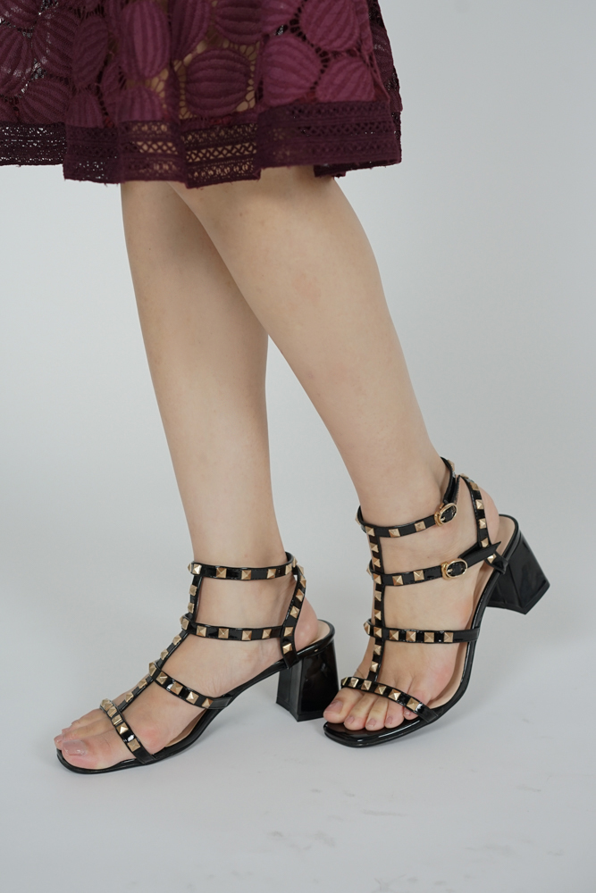 Tanya Studded Heels in Black - Arriving Soon