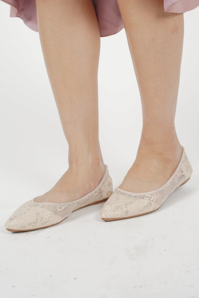 Aries Lace Flats in Nude - Arriving Soon