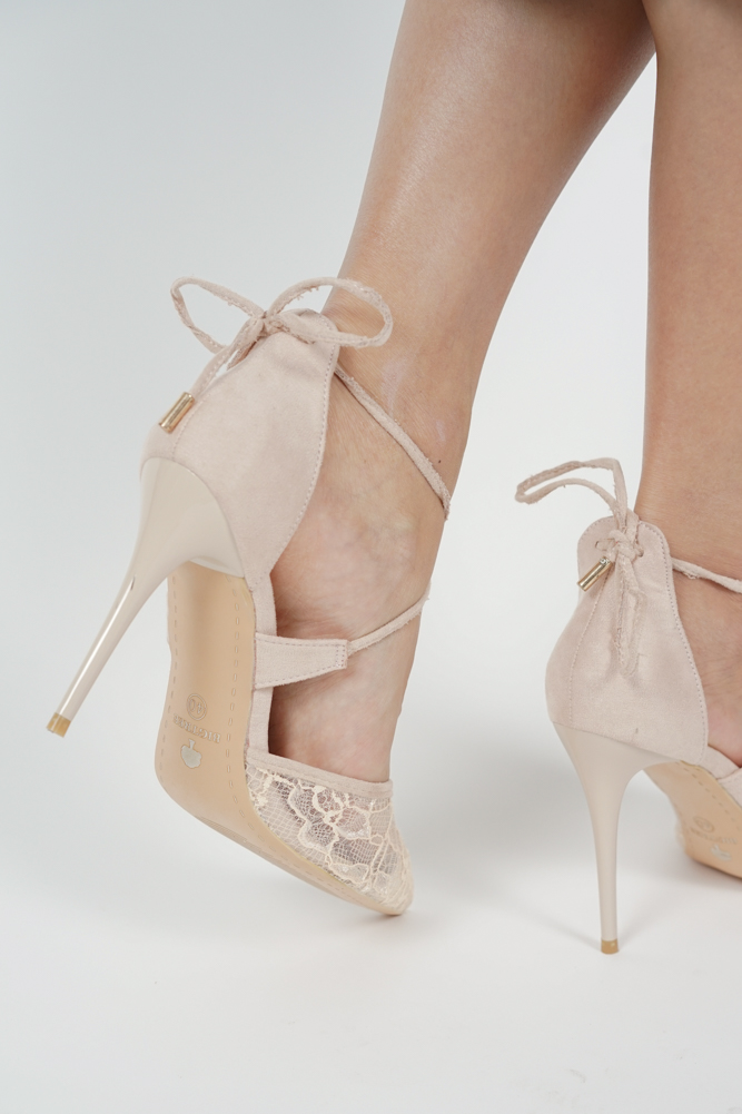 Dayna Lace Heels in Nude - Arriving Soon