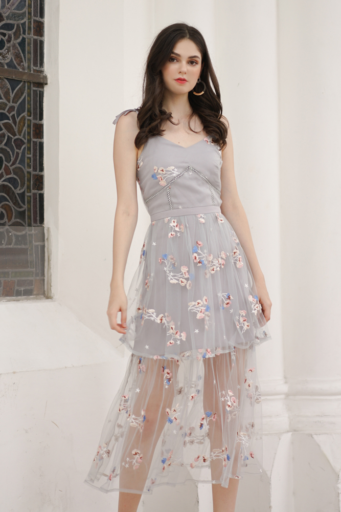 Awdrie Tulle Dress in Grey Floral