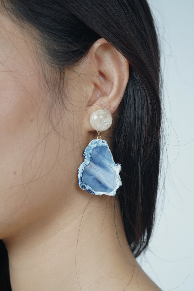 Geode Earrings in Azure - Arriving Soon
