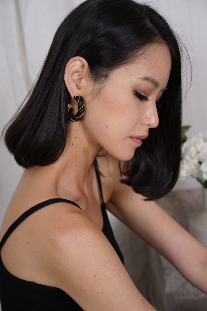 Orania Leather Hoops Earrings in Black