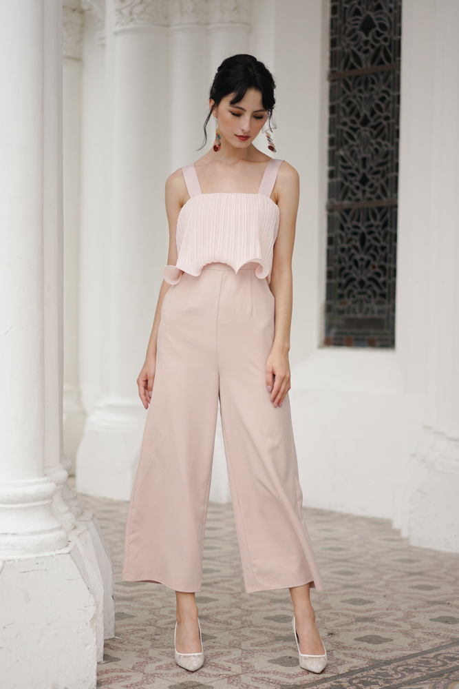 Amber Pleated Overlay Jumpsuit in Pink