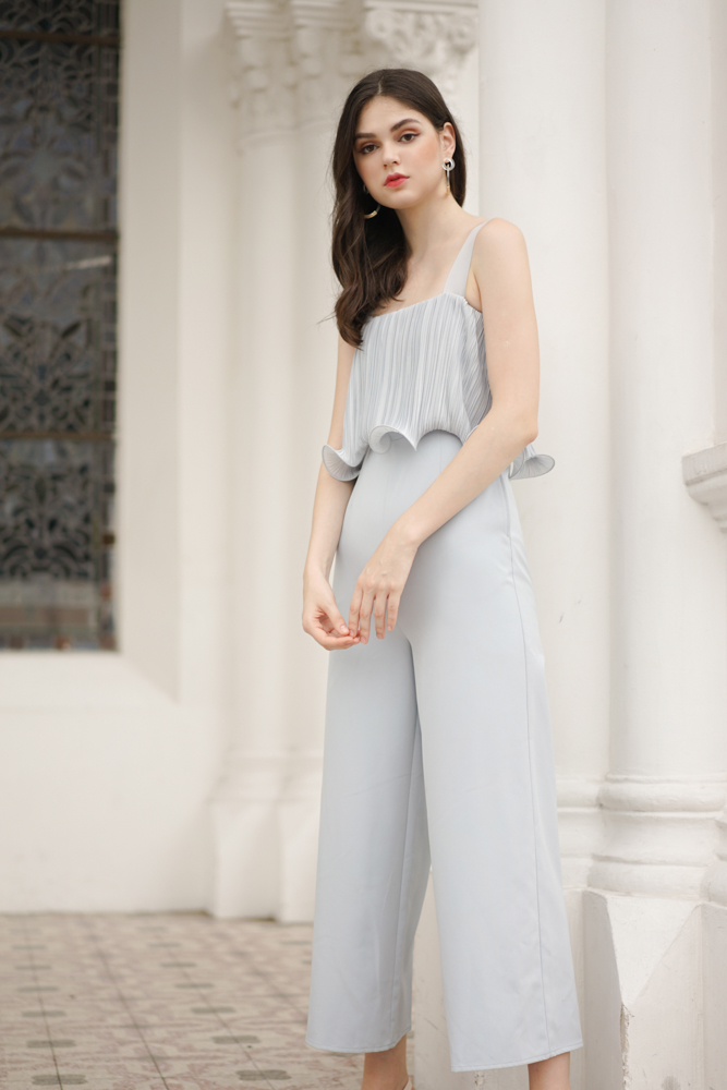 Amber Pleated Overlay Jumpsuit in Light Blue