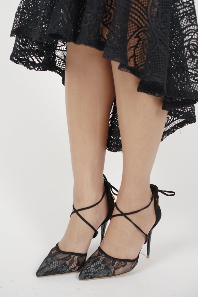 Dayna Lace Heels in Black - Arriving Soon