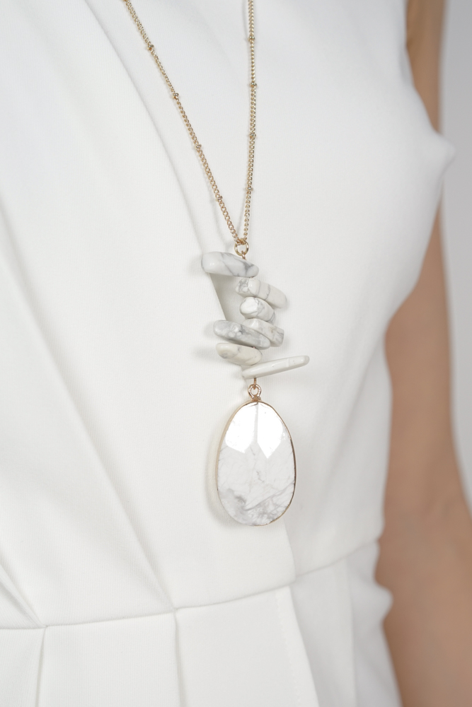 Delia Necklace in White Marble - Arriving Soon