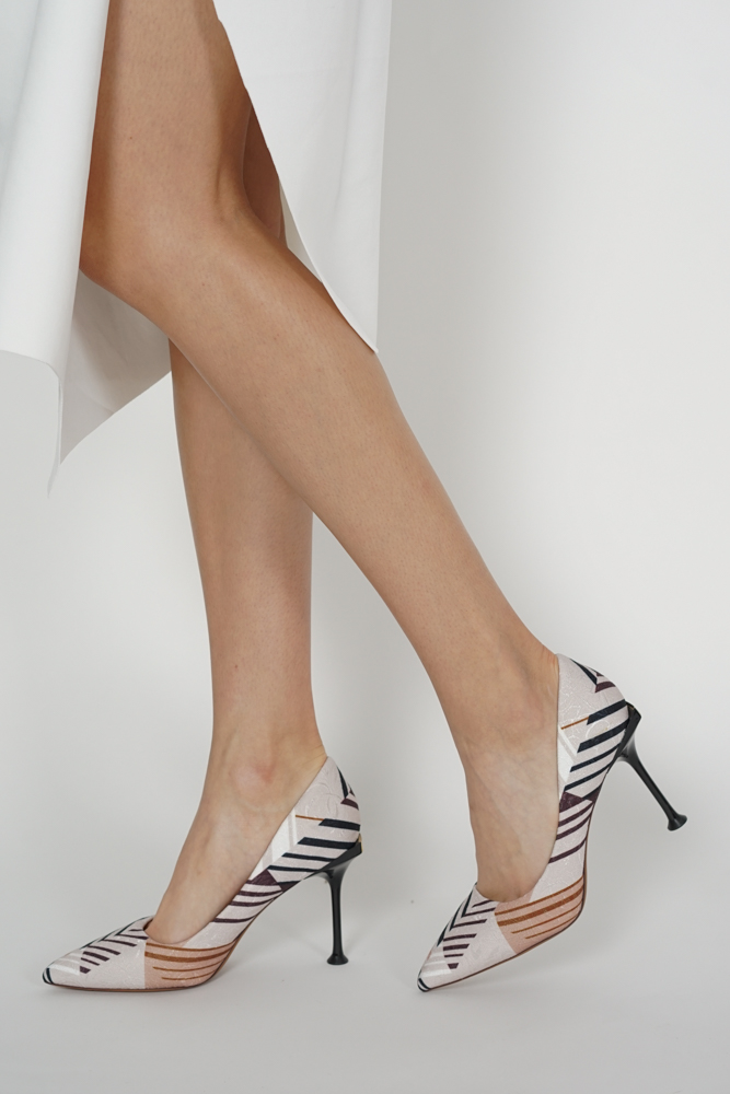 Mayer Heels in Cream Abstract - Arriving Soon
