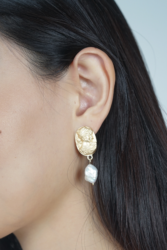 Cameo Inspired Pearl Earrings  - Arriving Soon
