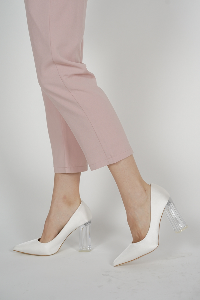 Tyra Satin Heels in White - Arriving Soon