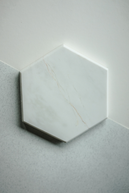 Large Hexagonal Slab in White Marble - Arriving Soon