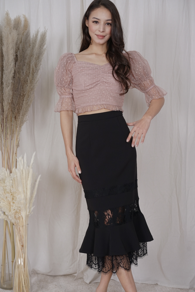 Norman Lace-Trimmed Skirt in Black - Arriving Soon