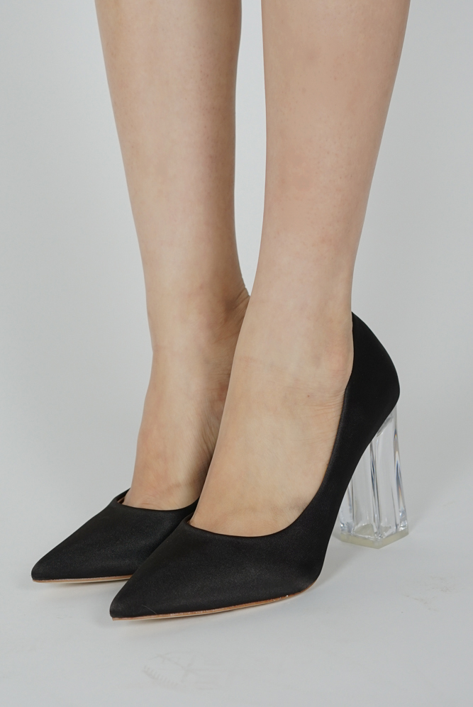 Tyra Satin Heels in Black - Arriving Soon