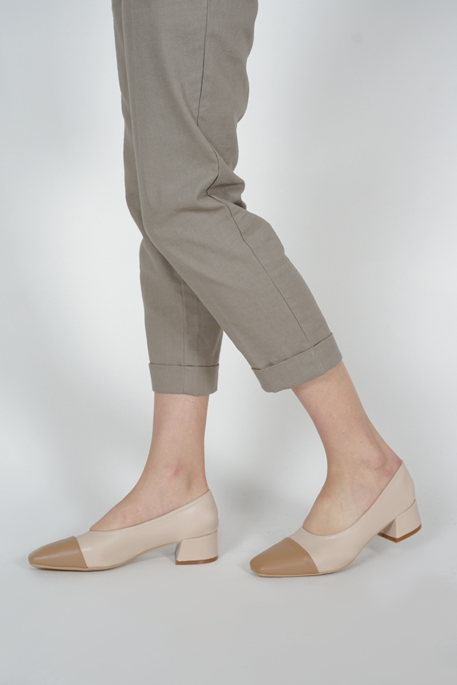 Jeri Contrast Toe Pumps in Camel - Arriving Soon