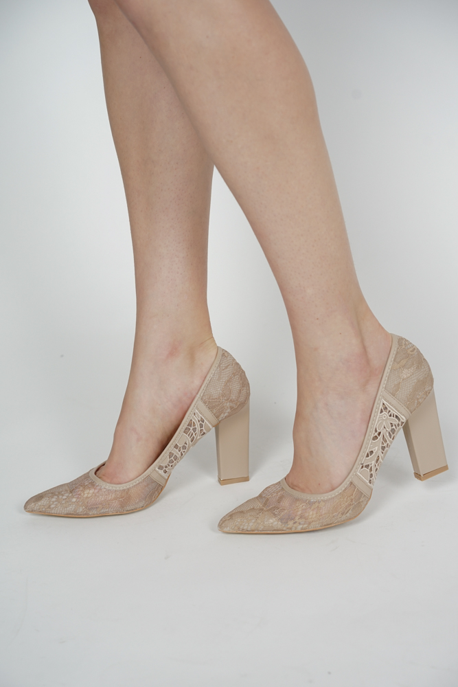 Eugenie Lace Pumps in Nude - Arriving Soon