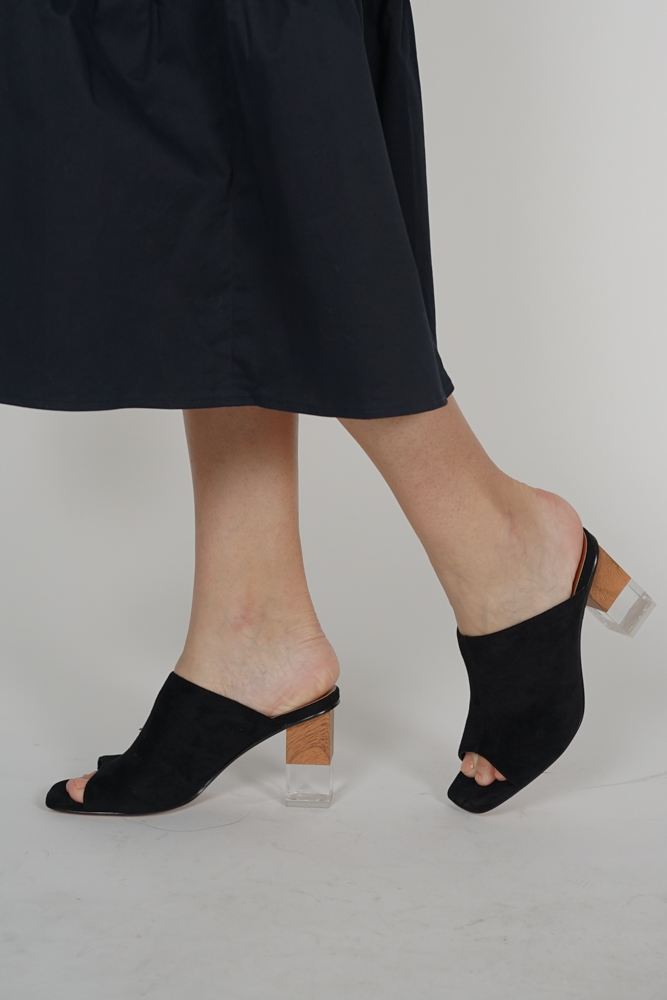 Contrast Heel Mules in Black - Arriving Soon