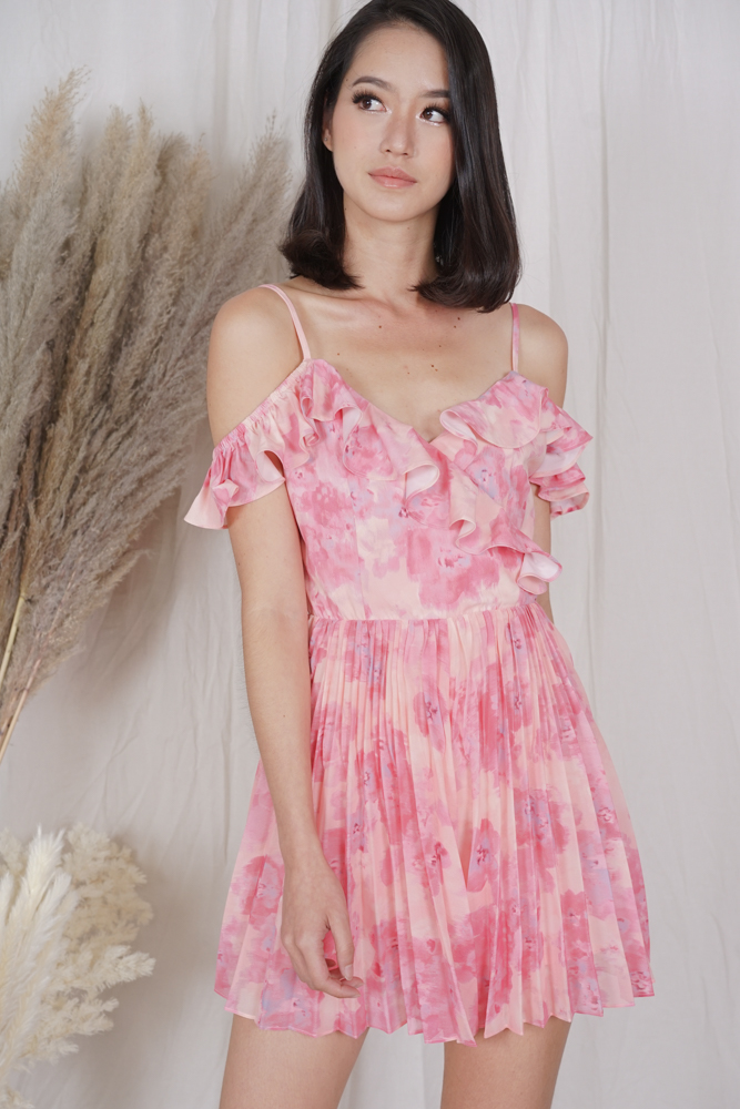 Lafay Ruffled Pleated Romper in Pink Abstract - Arriving Soon