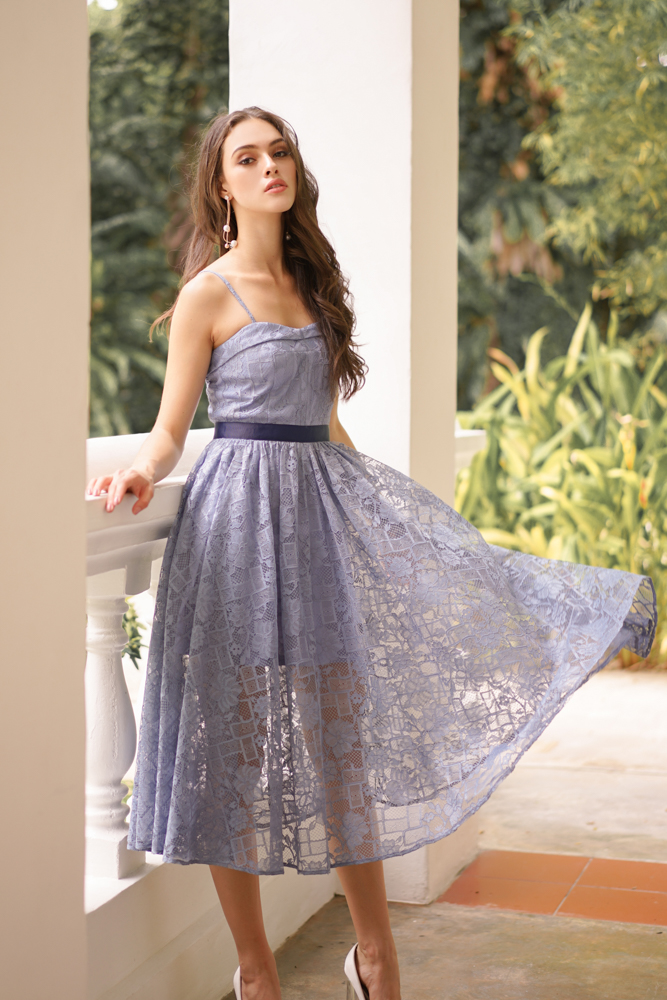Bruna Cami Lace Dress in Blue