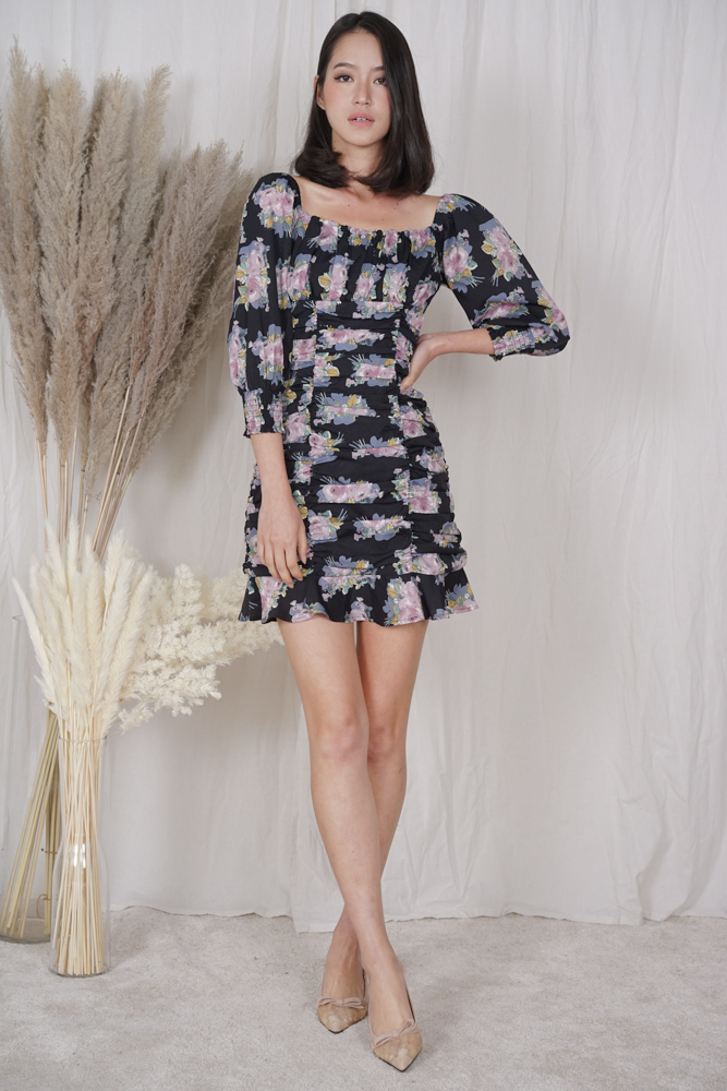 Bennia Ruched Dress in Black Floral - Shipping out from 13 to 16 April onwards