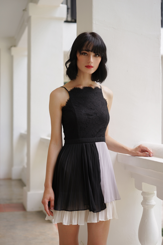 Judy Lace Pleated Dress in Black