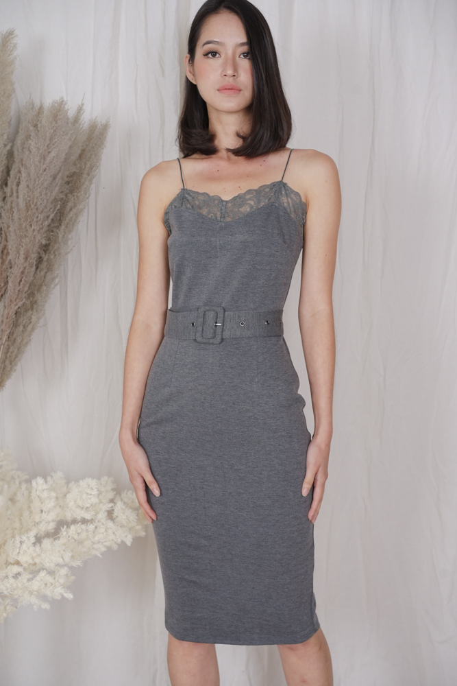 Mariea Lace-Trimmed Dress in Grey - Arriving Soon