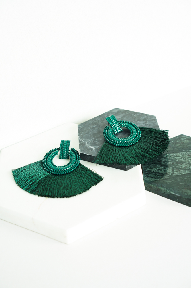 Boho Tassel Earrings in Forest Green - Arriving Soon