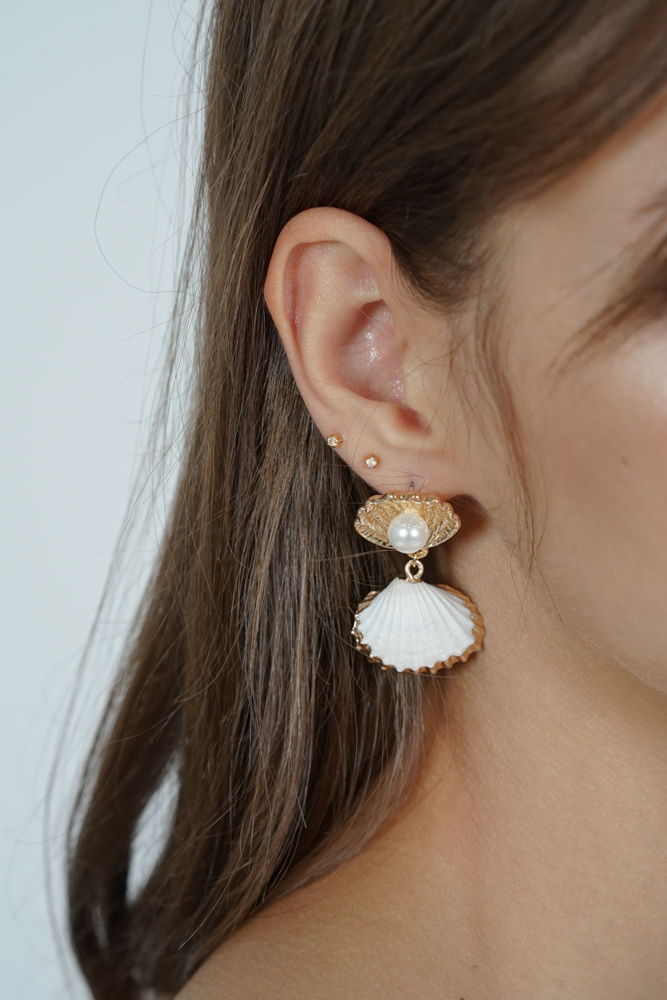 Harper Seashell Earrings in Gold- Arriving Soon