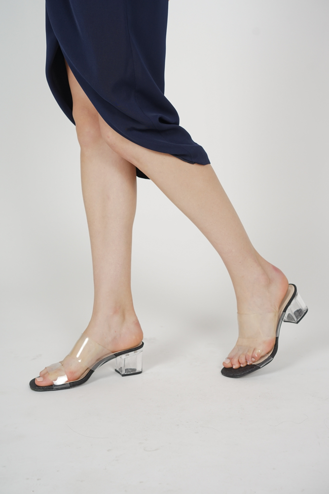 Eliza Clear Strap Mules in Black - Arriving Soon